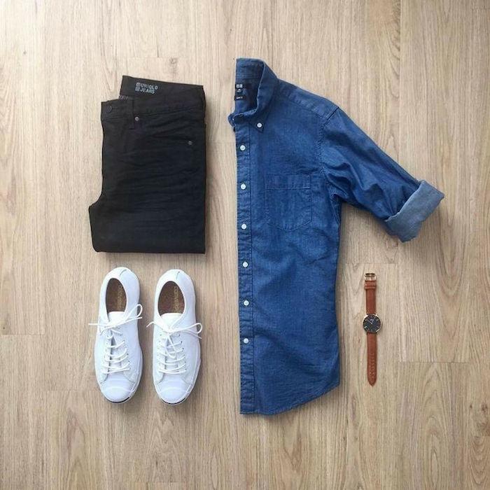avec quoi mettre une chemise en jean slim noir tennis blanches