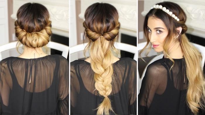 coiffure avec headband, modèle de chemise transparente noire à combiner avec une coiffure aux cheveux mi-attachés