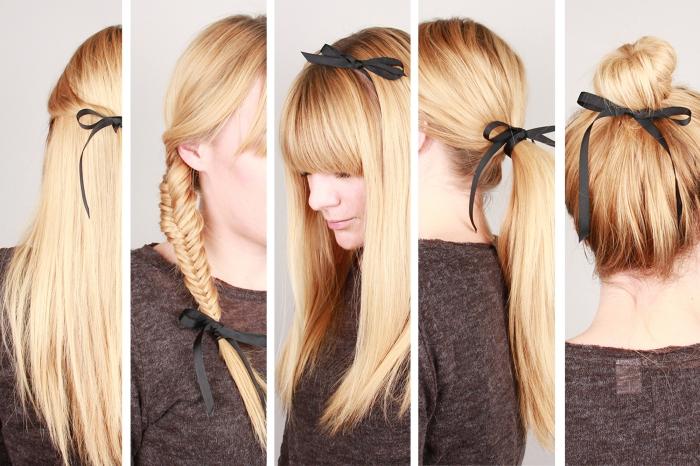 modèles de coiffure pour cheveux longs et raids avec ruban noir, comment porter le bandeau
