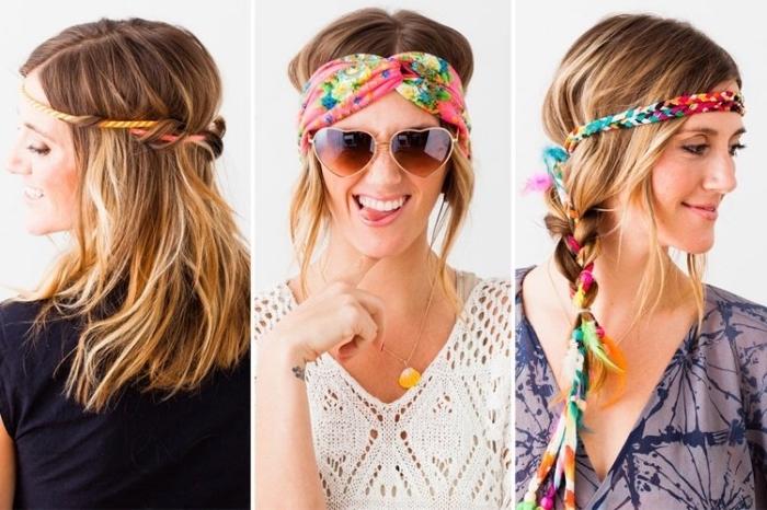 coiffure avec bandeau, coupe de cheveux mi-longs de couleur blond et châtain clair avec ruban multicolore de style hippie