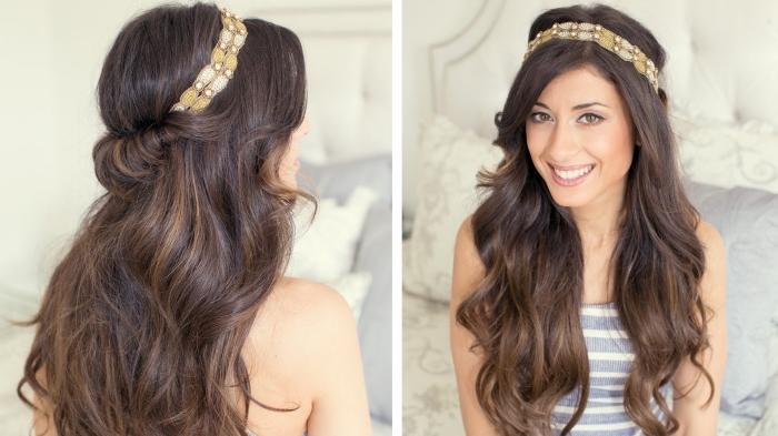coiffure cheveux lachés, modèle de coiffure avec ruban et boucles sur cheveux longs