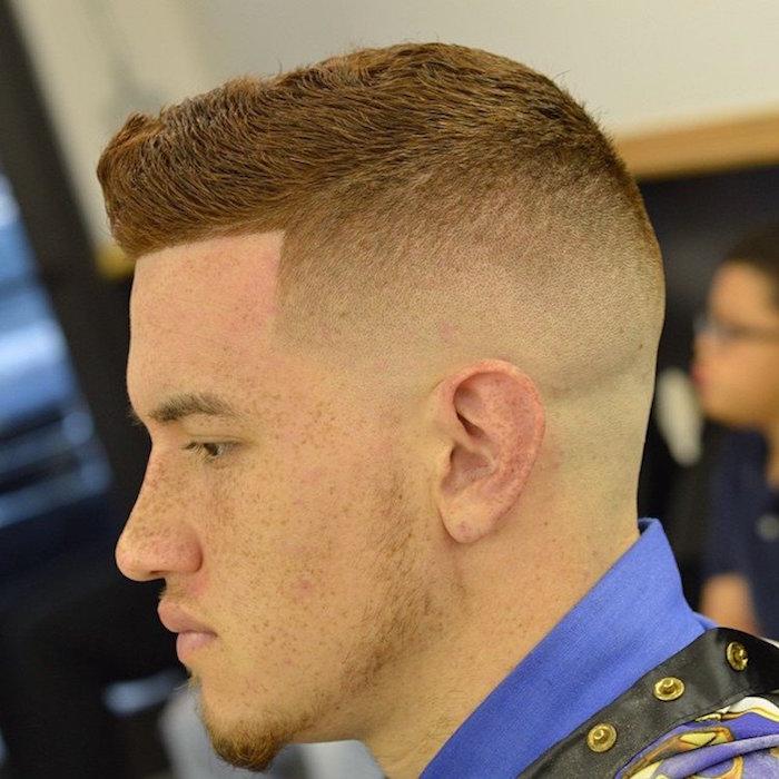 coupe courte dégradée coiffure degrade americain homme roux