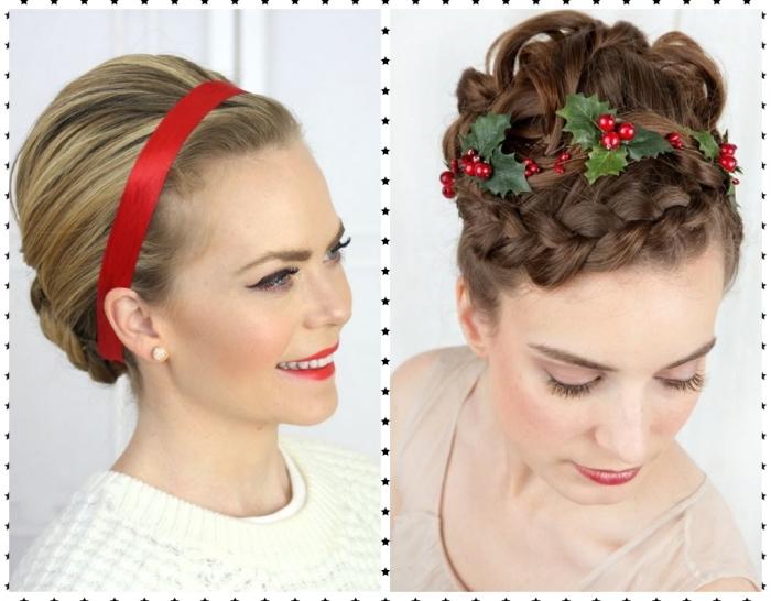 coiffure avec bandeau, cheveux longs attachés en chignon boucles bas avec bandeau rouge, coiffure cheveux bouclés attachés en chignon haut avec tresse