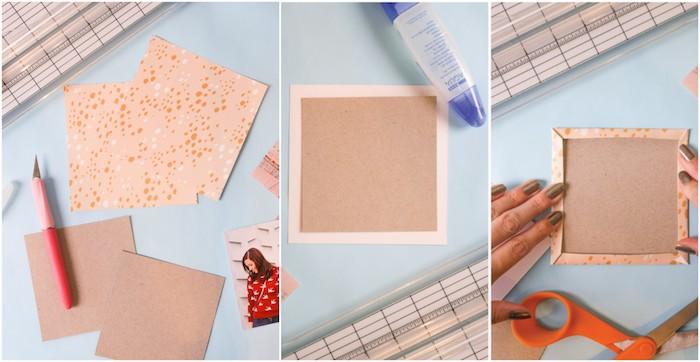 comment faire un cadeau personnalisé pas cher soi meme, premier étape tuto pour faire un album photo scrapbooking, carrés de carton customisés de papier coloré
