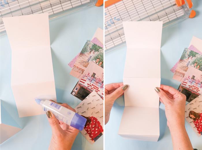 plier du carton en accodéon pour réaliser un alum photo, tutoriel étpae par étape pour faire un cadeau anniversaire femme