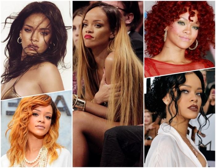 couleur acajou cheveux, coiffure de célébrité Rihanna, coloration claire ou foncée pour des yeux verts
