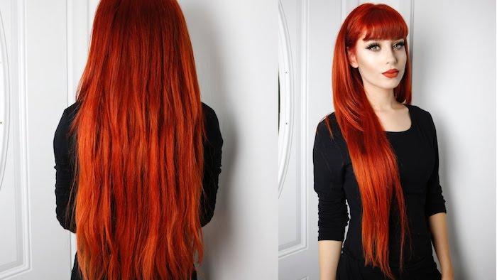 coloration rouge aux teintes cuivrées idée de coupe dégradé long avec de diverses longueurs et frange sur le front