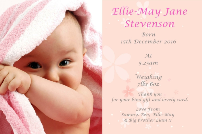 annoncer la naissance de sa fille avec une variante de carte personnalisée