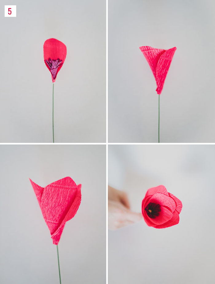 assembler les pétales rouges autour de la fleur, idée pour fabriquer une fleur en papier crepon soi meme, tuto fleur simple