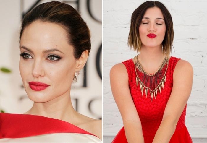 maquillage yeux verts foncés, coiffure et maquillage célébrité d'Angelina Jolie en robe et lèvres rouge