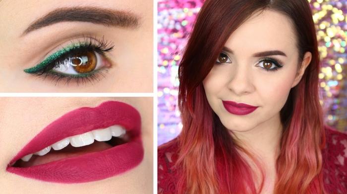 choisir son rouge à lèvre, maquillage pour yeux marron avec crayon vert glitter et mascara noir