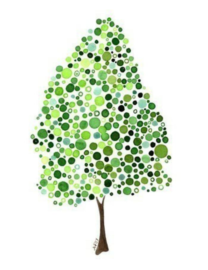 Magnifique arbre en dessin arbre dessin simple chene dessin pattern points verts