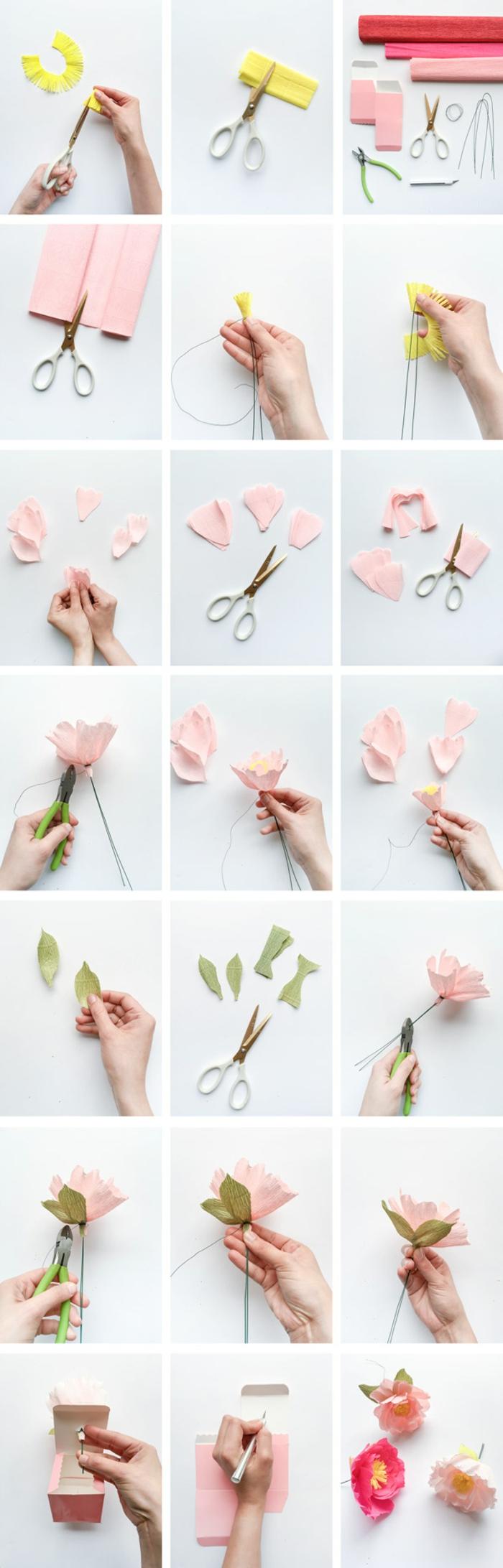 tuto fleur papier simple, comment faire de simles fleurs en papier crépon à pétales roses, feuilles vertes et tige de fil de fer vert