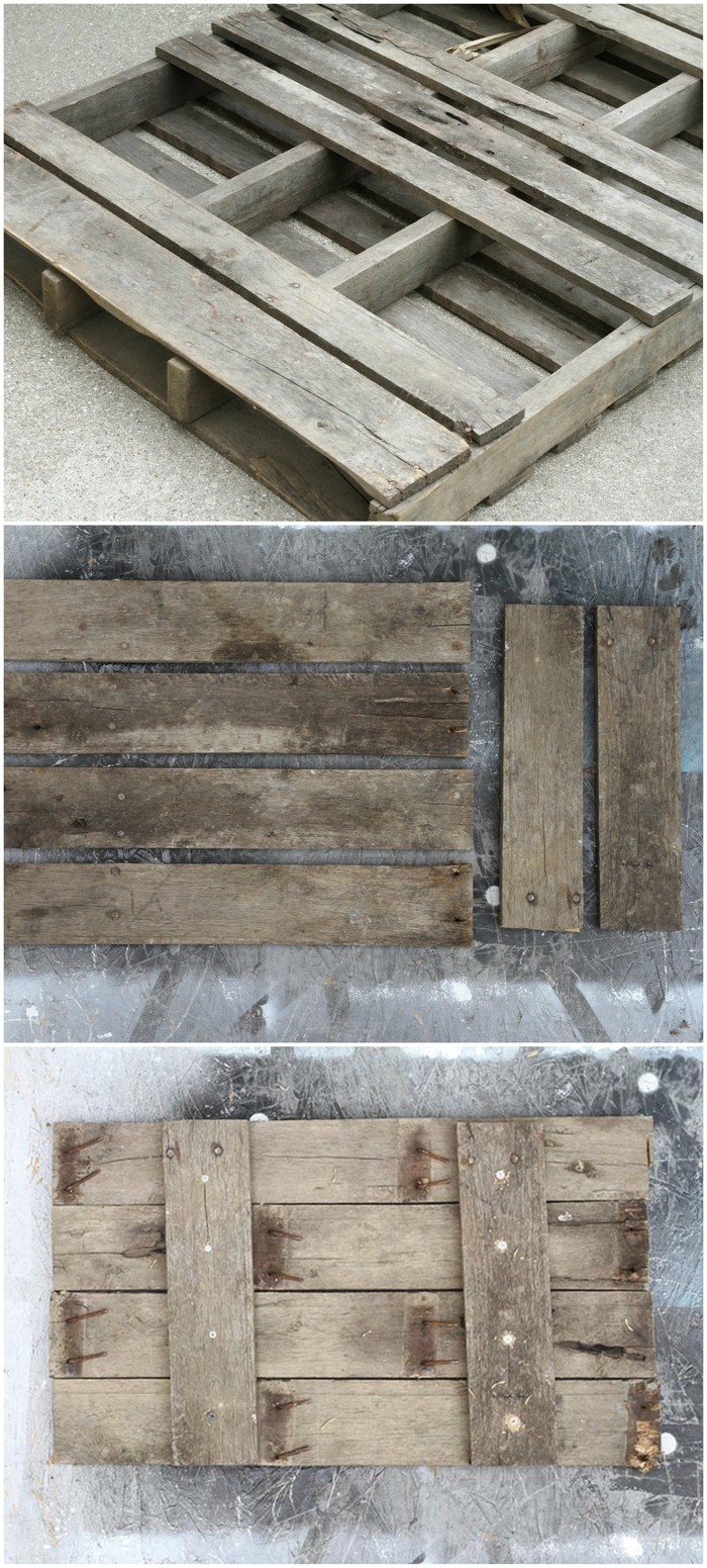 tuto pour fabriquer une table de chevet palette suspendue avec cordes, démontage d'une palette en planches de bois pour en fabriquer une table suspendue