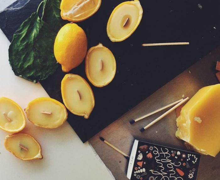 comment faire des bougies dans des citrons, idée de cadeau noel maman, activité manuelle adulte facile