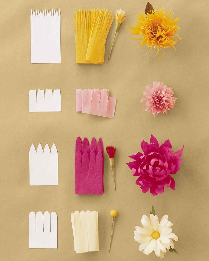 bricolage fleurs en papier crépon fabriquées à partir de bande de papier entaillé à finitions diverses, activité manuelle adulte