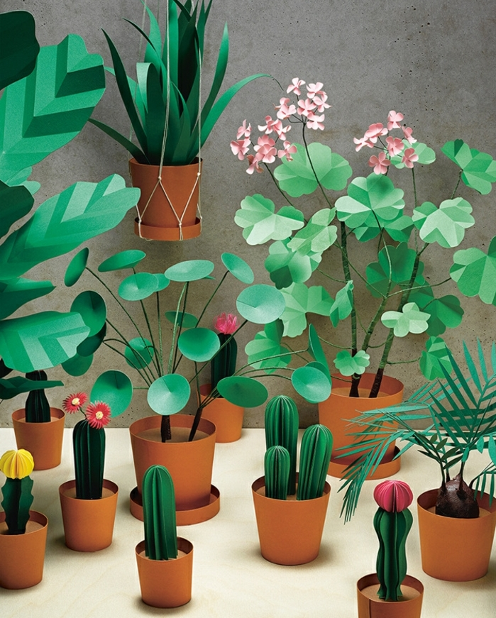 petit jardin maison de plantes artificielles, comment faire une fleur en papier, fleurs vertes, cactus et autres gengres dans des pots de fleurs