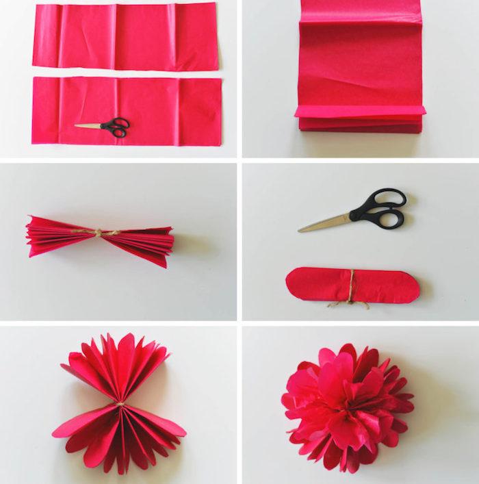 exemple de fleur en papier de soie rouge, technique de fabrication à partir de bandes de papier pliées en accordéon