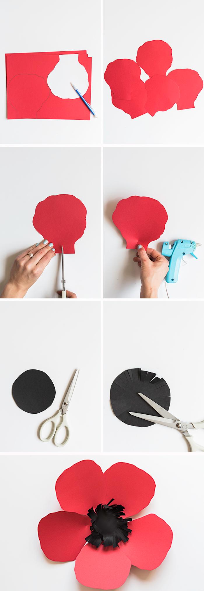 idée comment faire une fleur en papier, technique bricolage fleur rouge et noir simple, activité manuelle adulte