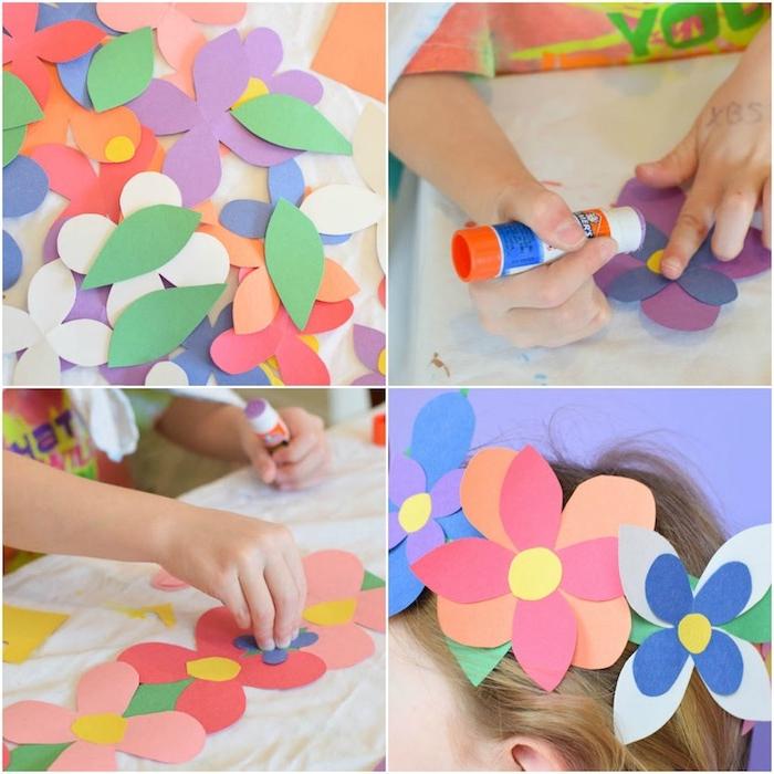 idée comment faire une fleur en papier facile de pétales colorés arrangées en couronne de fleurs sur les cheveux d une petite fille