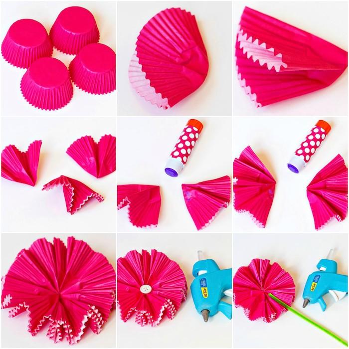 activité manuelle primaire, exemple comment faire des fleurs en papier avec des caissettes à muffins couleur fuchsia et tige de cure pipe