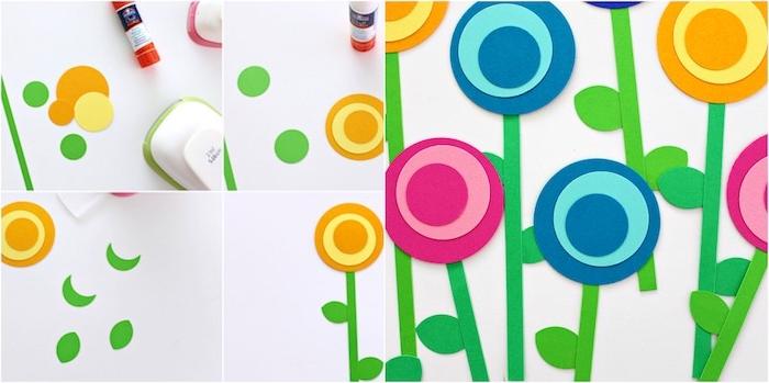 des fleurs en papier coloré rose, fuchsia, bleu et jaune et tiges e papier, idée d activité manuelle maternelle simple