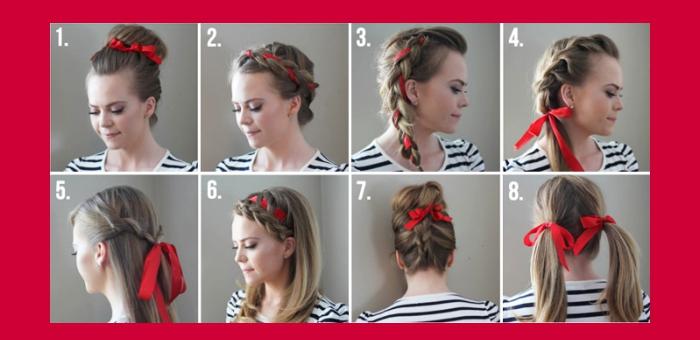 idée coiffure, tutoriel avec différentes façons de nouer un ruban rouge sur des cheveux longs