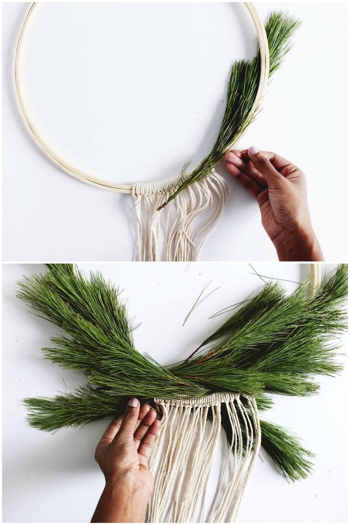 un projet diy noël pour une décoration de style scandinave, une couronne de noël végétale composée de branches de cèdres, de mini-boules de noël et de cordons en coton accrochés autour du cercle façon macramé