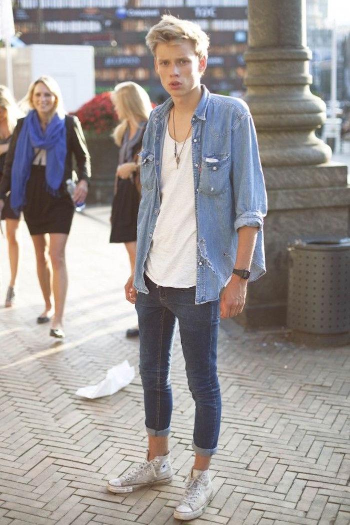 chemise denim homme levis vintage large manches longues pantalon skinny converse all stars