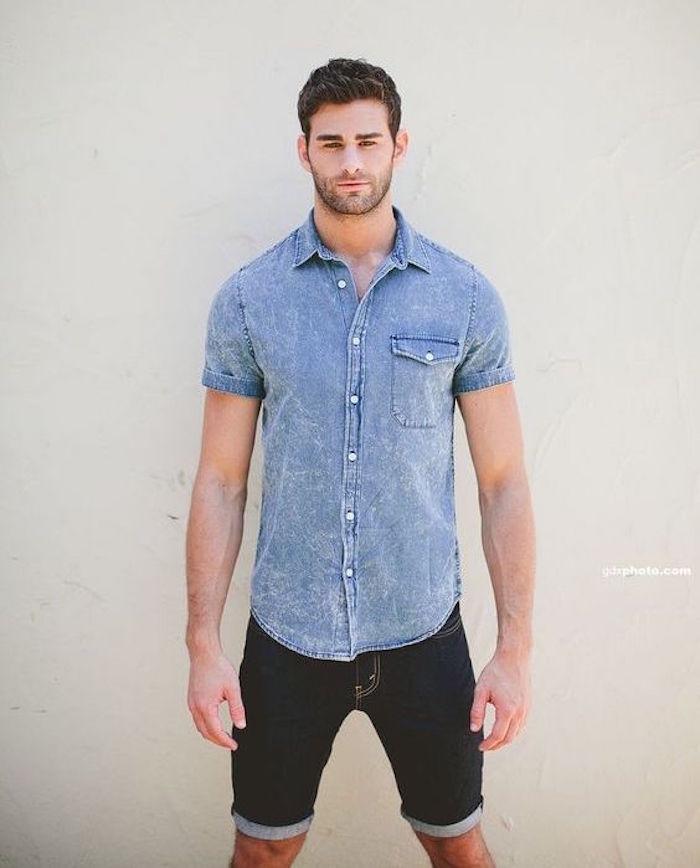 tenue été chemise en jean homme manches courtes short jeans brut