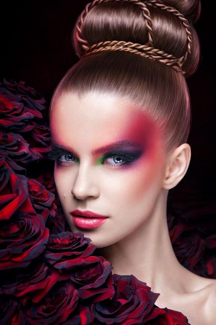 choisir son rouge à lèvre, maquillage avec rouges à lèvres framboise et fards à paupières de nuances rouge et pourpre