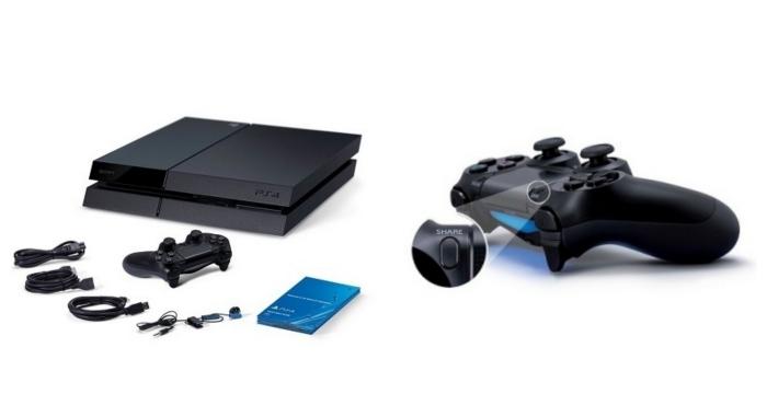 console de jeux vidéos PS4 à louer en ligne avec manette noire sans fils et câbles