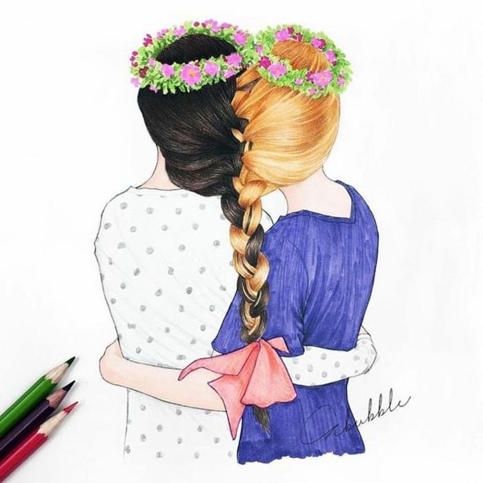 Amitié Dessin ▷ 1001 + idées de dessin pour sa meilleure amie qu'elle va apprécier