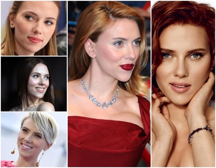 comment choisir sa couleur de cheveux, coupe de cheveux courts à coloration blond blanc avec mèches noires de Scarlette Johansson