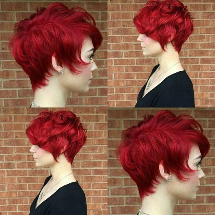 coupe cheveux court femme, mèches en rouge flamme, look punk, pixie provocant, aspect sophistiqué, idée coiffure pour les fêtes de fin d'année, mèches rebelles