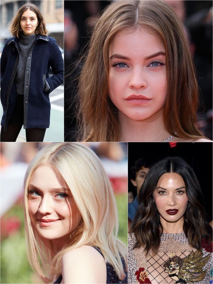 idées pour une coupe visage rond avec raie au milieu pour allonger le visage et donner un nouveau look à la chevelure