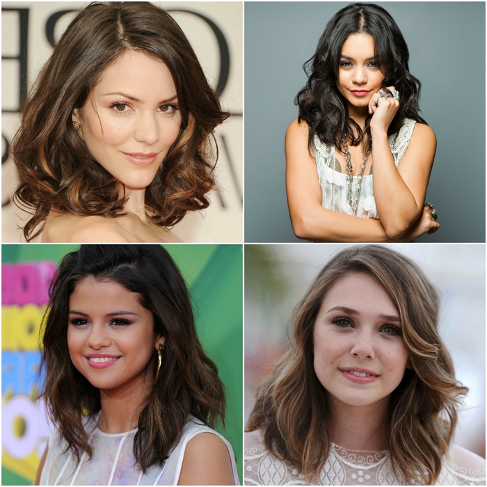 coupes de cheveux mi-longs légèrement dégradés qui adoucissent le visage ovale, et structurent les traits trop arrondis