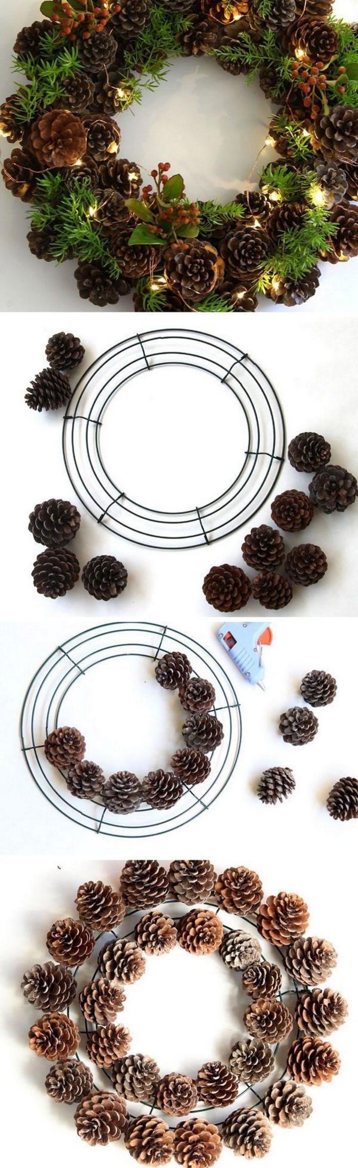 une jolie couronne de noël naturelle réalisée avec un cercle métallique décoré de pommes de pin et branches de verdure, deco noel a faire soi meme