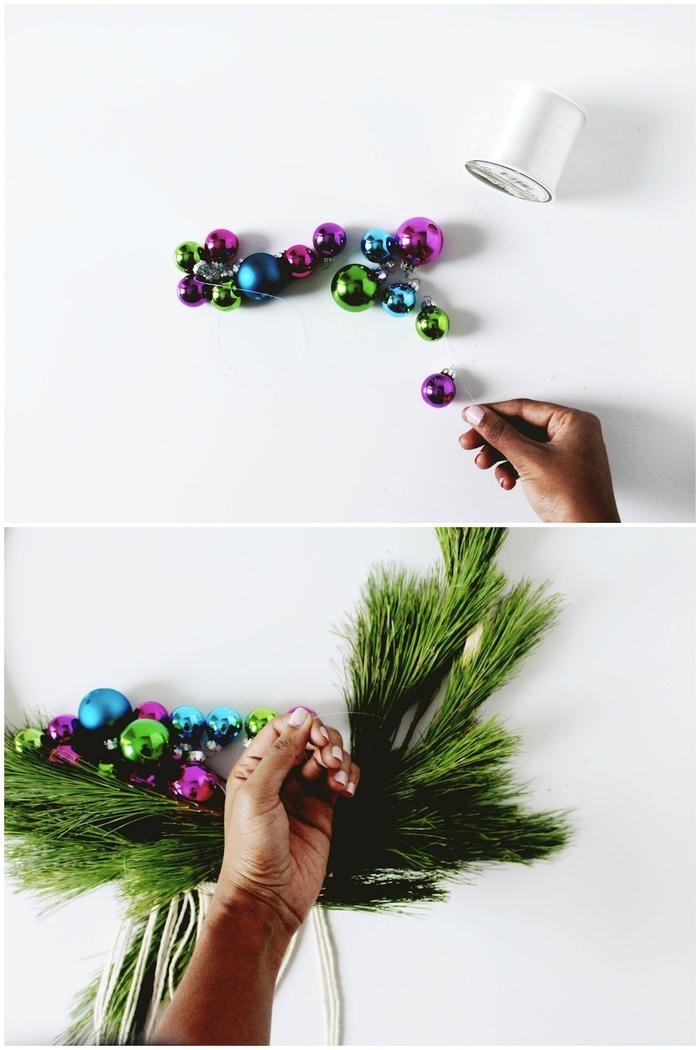 idée originale pour une deco noel a faire soi meme, couronne de noël de style scandinave et d'inspiration macramé décorée de branches de verdure