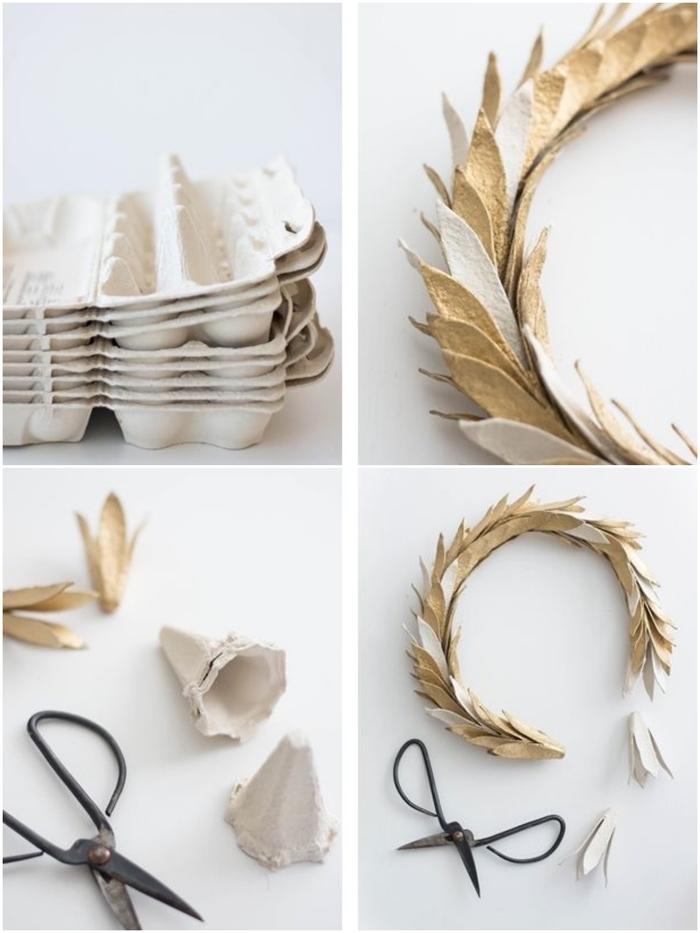 idée pour un bricolage de noel récup, comment réaliser une couronne de noël en boîte d'oeufs