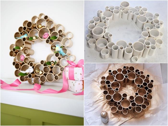 une couronne de noel a faire soi meme avec des tubes de pvc, idée originale pour un bricolage de noël d'esprit récup