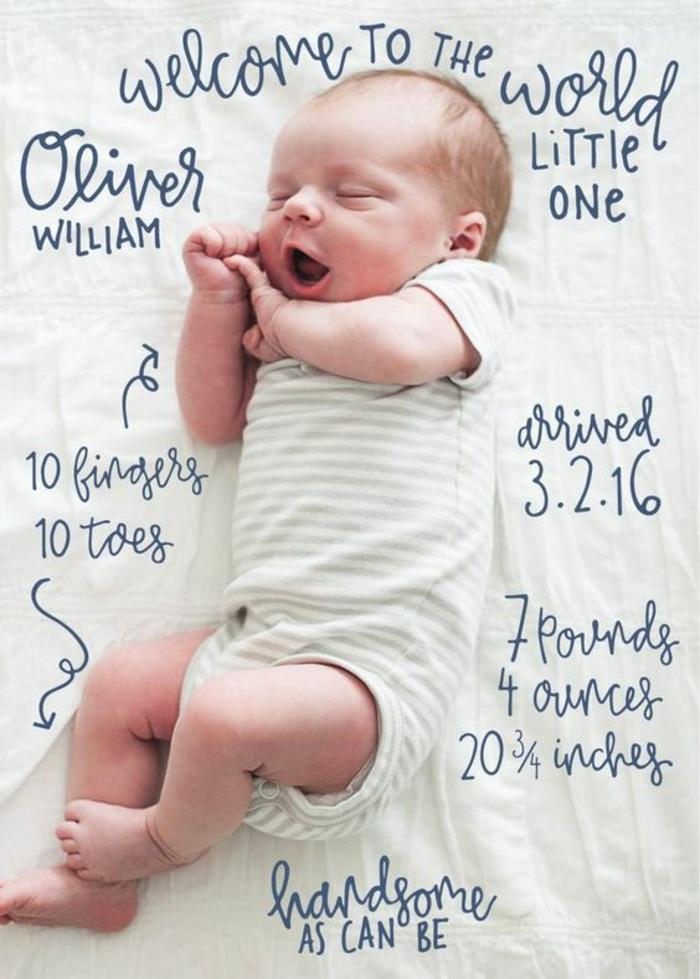 carté de naissance bébé créative avec la photo d'un nouveau né et des scripts