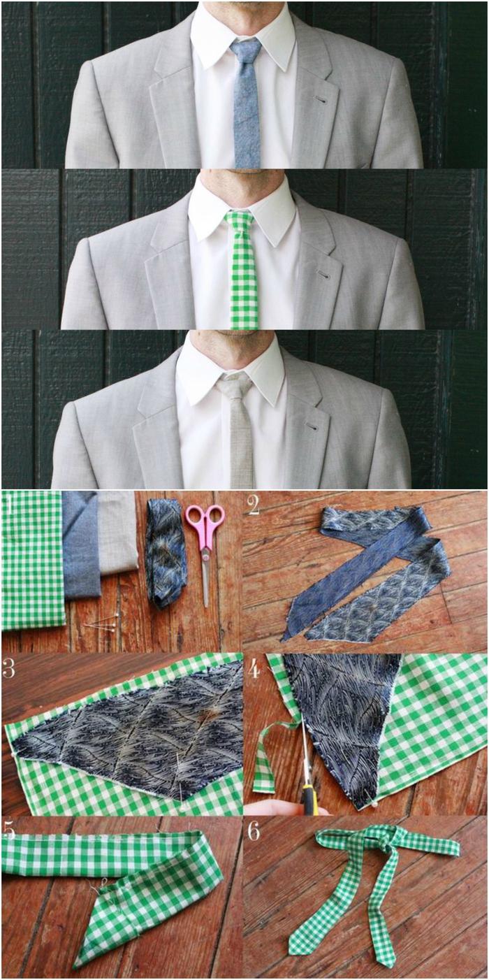 cravate slim imprimé facile à réaliser soi même, idée cadeau homme pour ceux qui aiment rompre avec les codes vestimentaires de l'entreprise