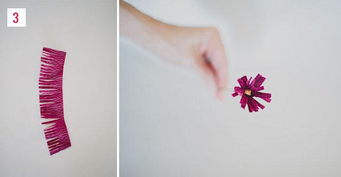 bricolage de fleur en papier crepon pour adultes, partie centrale frangée pour constituer le coeur de votre fleur