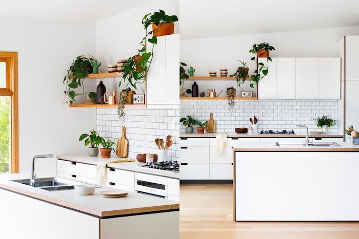 cuisine amenagee en blanc et bois avec des touches de vert, introduites par des plantes vertes, parquet clair, credence carrelage blanc, meuble cuisine et ilot blanc