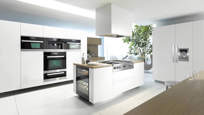 cuisine aménagée en blanc ave cmeuble et ilot blanc et electromenager finition noir et inox, carrelage sol blanc, plante verte