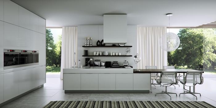 cuisine blanche et grise, avec mobilier de cuisine et îlot central blanc, sol carrelage gris, etageres ouvertes, suspension boule blanche