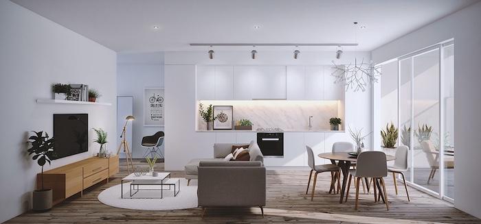 credence cuisine moderne en marbre, meuble cuisine blanc, ouverture sur salon salle a manger en gris et bois, parquet marron, éclairage LED credence
