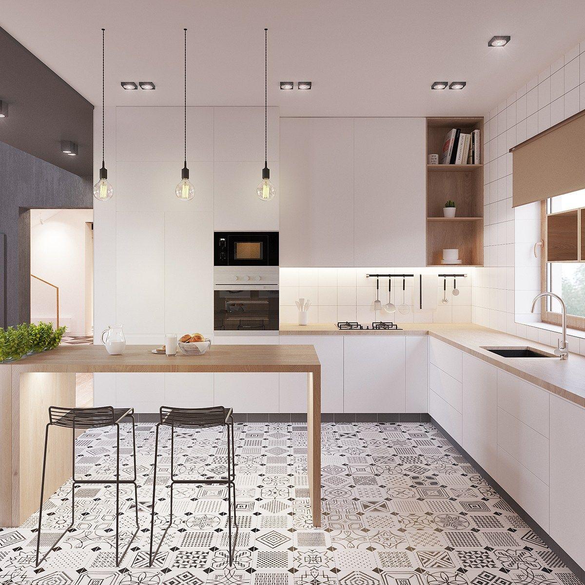 cuisine blanche plan de travail bois, facade cuisine blanche, petit bar en bois et tabourets metalliques, sol carrelage mosaique noir et blanc