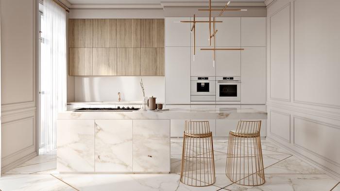 cuisine bois et blanc style scandinave, meuble cuisine blanc avec ilot central marbre et chaises finition dorée, sol marbre